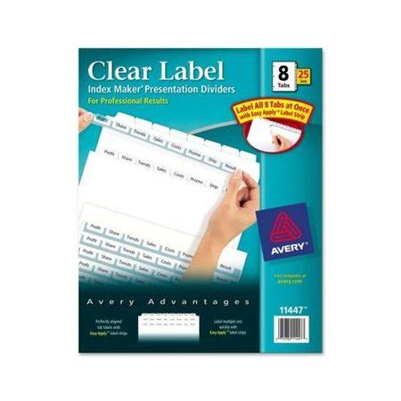 avery maker clear label divider ave11447 walmart