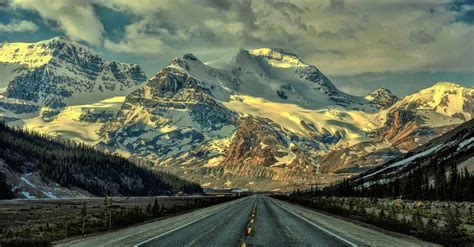 Nature Landscape Mountains Snowy Peak Road Forest