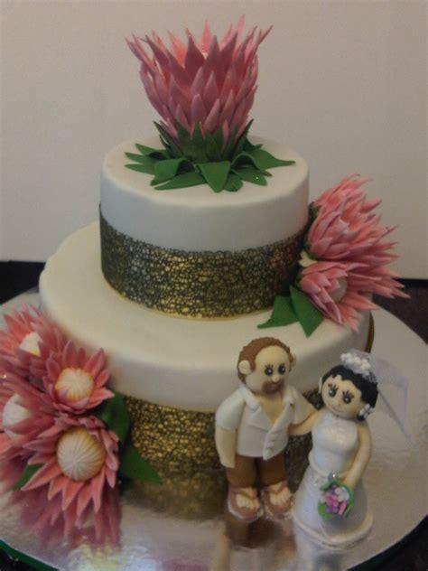 iced protea wedding cake