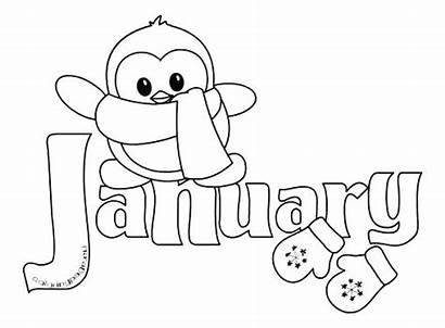 Coloring January Clipart Month Winter Pages Printable