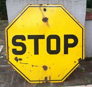 Antique, Yellow, Stop, Sign, From, 1920s