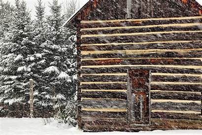 Rustic Cabin Country Snow Storm Cabins Lodge