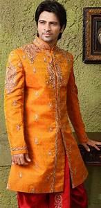 Top Prom Dress Designers Wedding Deep Orange Raw Silk Embroidered Special Dhoti