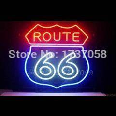 Hot Neon Sign Route 66 Garage Handicrafted Real Glass