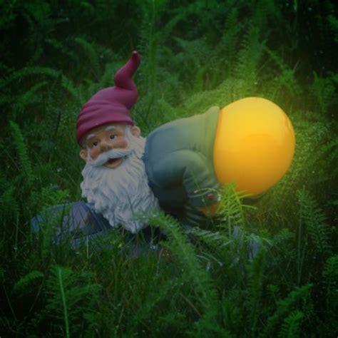 solar powered mooning gnome garden light