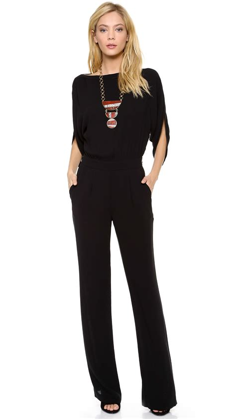 and black jumpsuit diane furstenberg margot crepe wrap jumpsuit in black