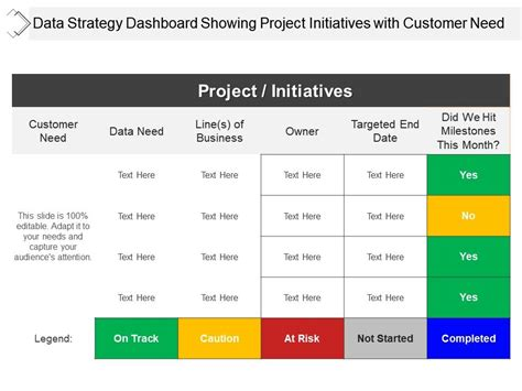 data strategy dashboard showing project initiatives