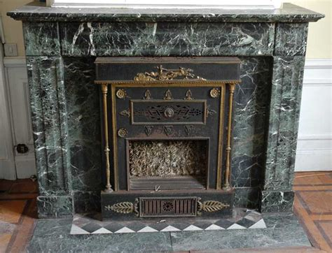 green marble mantel  empire style insert  bronzes