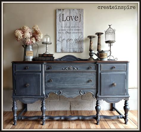 Antique Painted Sideboard by Createinspire Antique Buffet In Ash Fusion Mineral Paint