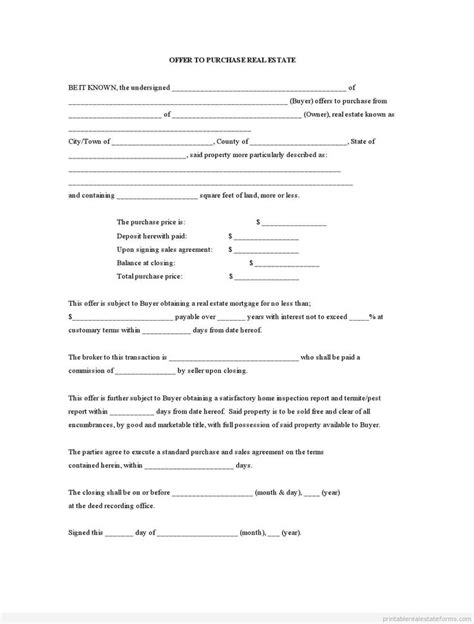 printable offer  purchase real estate template