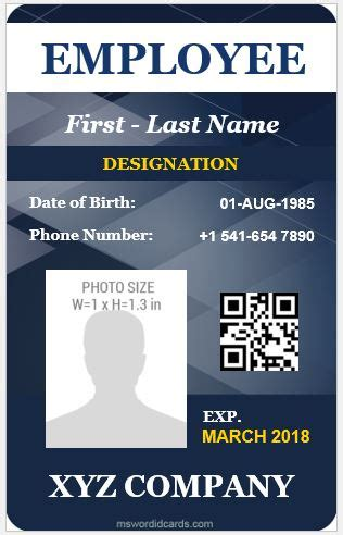 vertical design employee id cards microsoft word