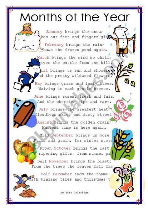 months of the year poem esl worksheet by lydis