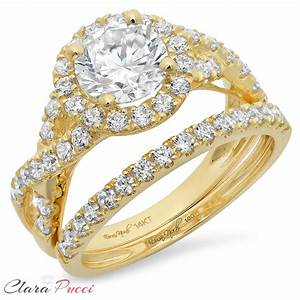 225ct round engagement ring band set diamond simulant 14k With yellow gold engagement wedding ring sets