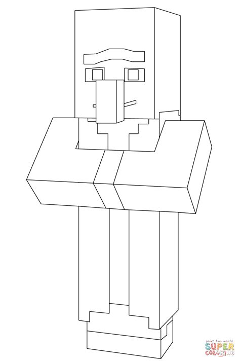 minecraft villager coloring page  printable coloring