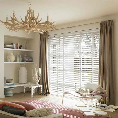 Blinds With Drapes - white venetian blinds with blockout curtain
