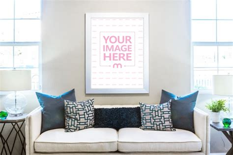 Free square photo frame on wall mockup. Canvas Art Poster on Living Room Wall Mockup Generator - Mediamodifier
