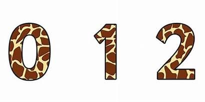 Giraffe Numbers Pattern Display Safari Animal Sign