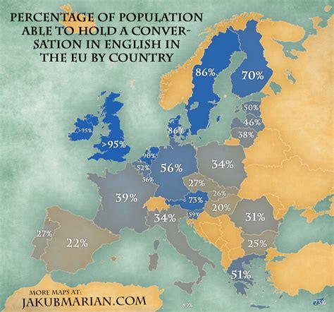 map   percentage  people speaking english   eu