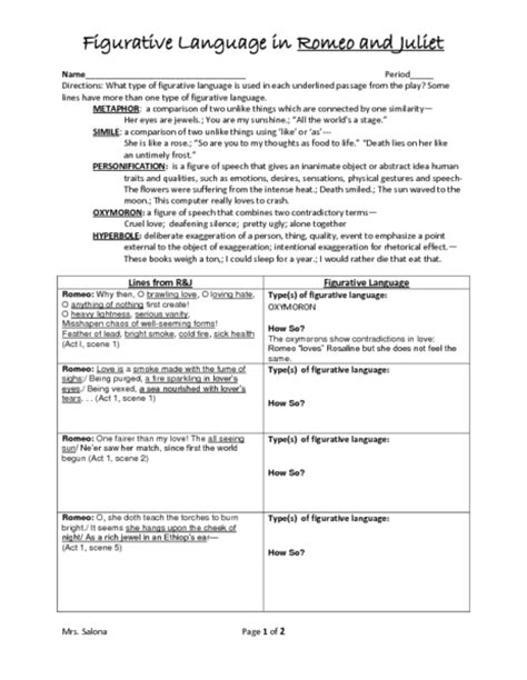 romeo and juliet worksheet worksheets for all