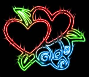 Pretty Neon Designs Wallpaper with Hearts