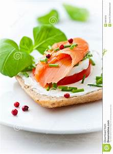 Sandwich With Cream Cheese And Smoked Salmon Royalty Free ...