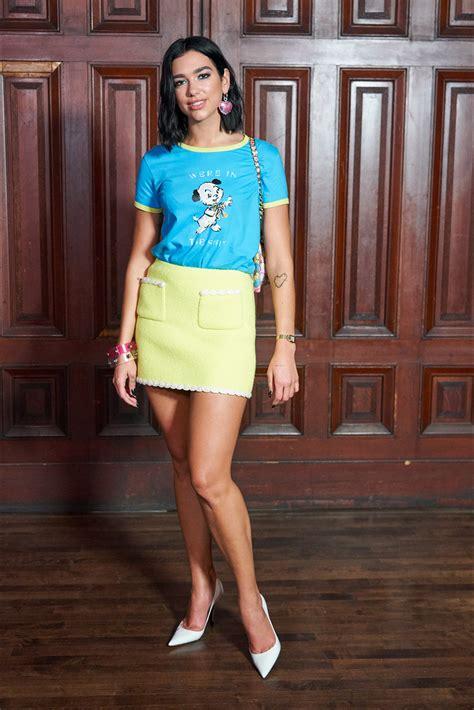 dua lipa hot skirt pic celeb lives