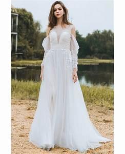 flowy long tulle boho beach wedding derss with long With flowy wedding dress with sleeves