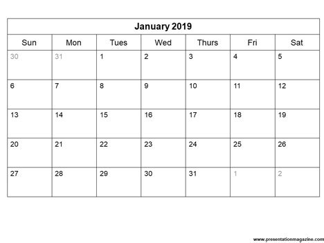 printable calendar template sunday start