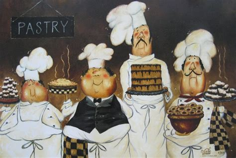 four pastry chefs art print fat chef wall art funny chefs