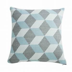 Coussin Gris Et Blanc : coussin graphique en tissu bleu et gris 45x45cm cubissa ~ Melissatoandfro.com Idées de Décoration