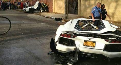crashed white lamborghini lamborghini snaps in two during crash with sedan powerblog