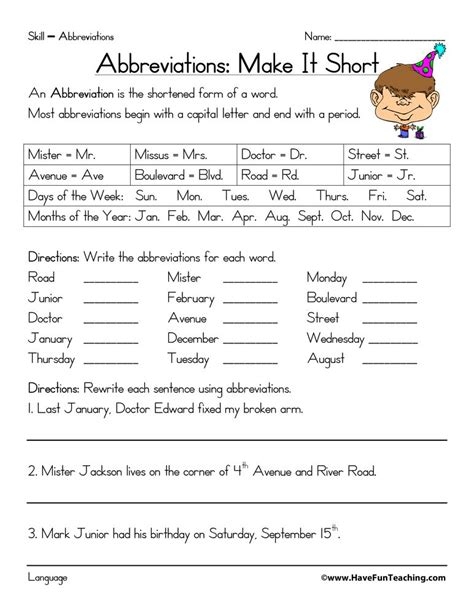 abbreviations worksheet education teacher worksheets