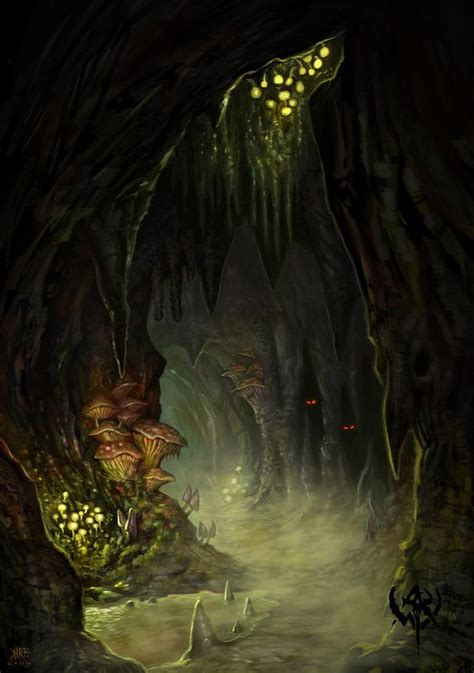 This cave located deep inside the forest of plunder is currently the domain of a group of goblins.its inhabitants are stronger than most goblins goblin cave. paysages fantastiques - Page 10 | Paysage fantastique, Forêt fantastique, Paysage imaginaire