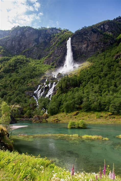 Waterfall In Aurlandsfjord Near Flåm Norway By In