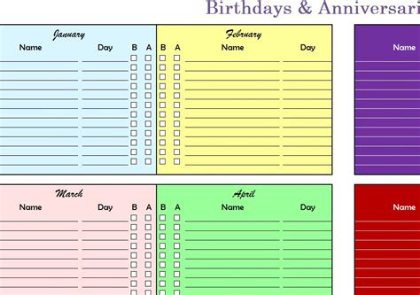 birthdays anniversaries chart  excel templates