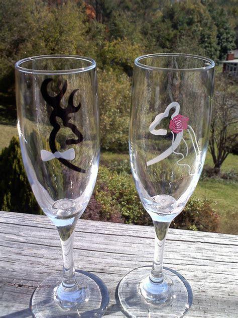 browning deer bride  groom wedding champagne flutes