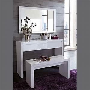 Meuble D39entre Design Coiffeuse Blanc Laqu Miroir Et Banc