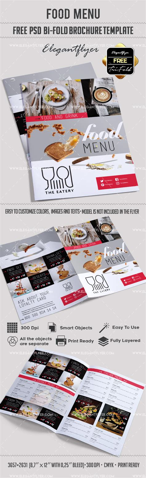 Template Brochure For Restaurant By Elegantflyer Free Food Menu Restaurant Brochure Template In Psd By