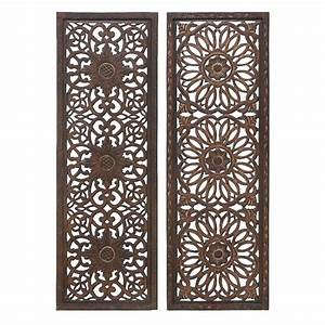 Carved wood wall decor panel : Carved wood wall panel sculpture rich brown floral home
