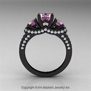 french 14k black gold three stone light pink sapphire With black gold pink sapphire wedding ring