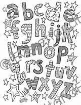 Coloring Lettering Doodle Letters Font Lowercase Alphabet Digital Pages Fonts Script Visit Letter Hand Etsy sketch template