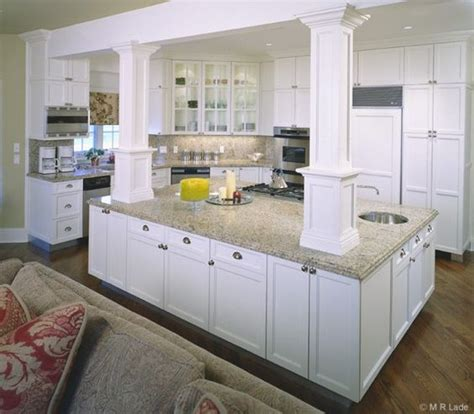 kitchen islands with posts kitchen island with columns artisan woods kitchens 5278
