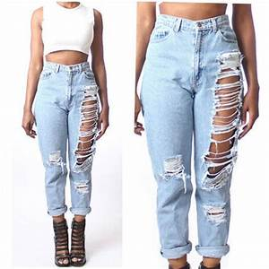 Women High Waist Destroyed Boyfriend BF Jeans Ripped Denim ...