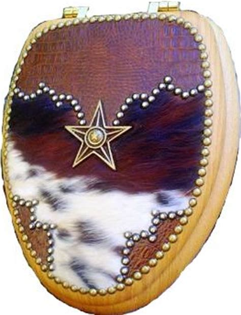 Cowhide Toilet Seat by Scs Fany20 Western Fancy Decor Cowboy Cowhide