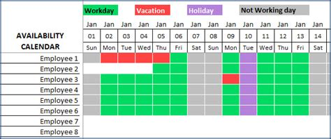 team vacation planner excel template  gioi excel