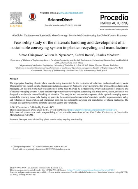 (PDF) Feasibility study of the materials handling and
