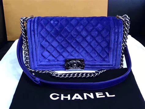 authentic chanel royal blue quilted velvet medium boy flap