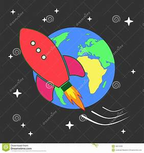 Illustration Of Space Rocket Flying Around Earth Stock ...