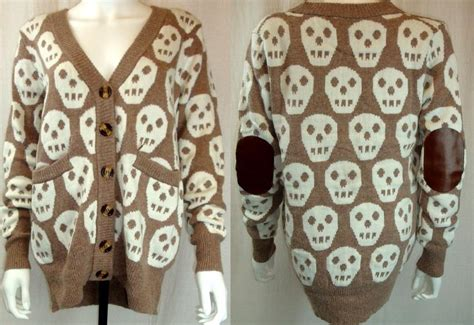Chunky Boyfriend Wool Knit Slouchy Leather Patch Elbow Halloween Skull Cardigan