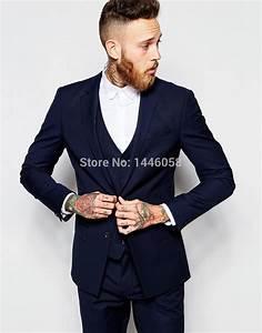 2017 Men Formal Suits Groom Wear Navy Blue Business Suit ...